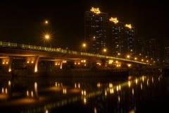 Scene di notte del ponticello di WuQiao Fotografie Stock