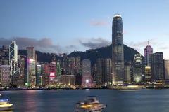 Scene di tramonto dell'orizzonte di Hong Kong Cina della città Fotografie Stock Libere da Diritti