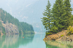 Scene in Diablo lake water landscape on a day in North Cascade national park,Wa,Usa.  Stock Photos