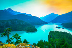 Scene in Diablo lake water landscape on a day in North Cascade national park,Wa,Usa.  Stock Image