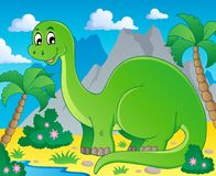 Scene with dinosaur 1. Vector illustration Stock Image