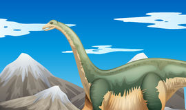 Scene with dinosaur and mountains Royalty Free Stock Photo
