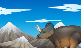Scene with dinosaur and mountains Royalty Free Stock Image