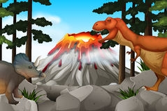 Scene with dinosaurs and volcano Stock Photography