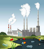 Scene with dirty water at the factory. Illustration Stock Images