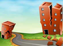 Scene of earthquake with cracked buildings Stock Image
