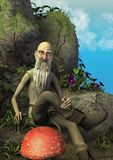 A fairytale scene with an elderly magician sitting in a stone throne surround by mushrooms. royalty free stock images