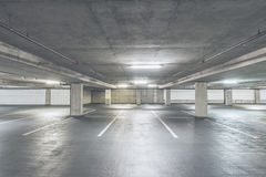 Scene of empty cement Parking Garage interior in the mall.. Royalty Free Stock Photography
