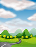 Scene with empty road to countryside Royalty Free Stock Photography