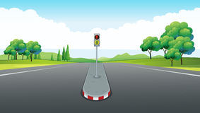 Scene with empty road and traffic light Stock Photos