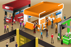 The scene at an exhibition booths Royalty Free Stock Photos