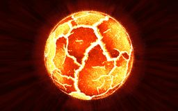 Scene of exploding planet from its core, illustration Royalty Free Stock Images