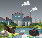 Scene with factory and water pollution. Illustration royalty free illustration