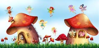Scene with fairies flying around mushroom houses. Illustration Stock Photography
