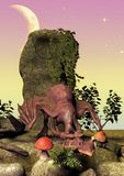 A fairytale scene of a little pink dragon which just awakes. royalty free stock photo