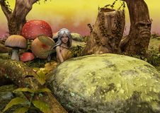A scene of a fantasy meadow with a little fairy hidden behind a rock. stock illustration
