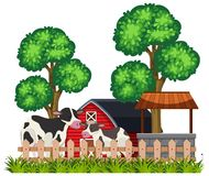 Scene of a farm with cows vector illustration