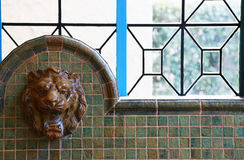 Scene of a faucet of a lion. Scene of a faucet of a watering lion`s lion Stock Photography