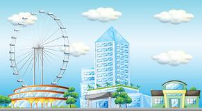Scene with ferris wheel in the city. Illustration Royalty Free Stock Images