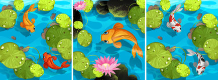Scene with fish swimming in the pond. Illustration Stock Images