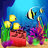 Scene with fish under the ocean. Illustration Royalty Free Stock Photography