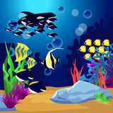 Scene with fish under the ocean. Illustration Stock Photo