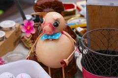 Scene from Flea market where people sell and buy used toys, clothes, pictures, kitchen ware and other vintage things stock photo