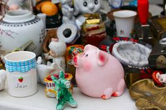 Scene from Flea market where people sell and buy used toys, clothes, pictures, kitchen ware and other vintage things royalty free stock photography
