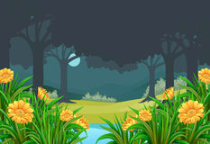 Scene with flower field in forest at night Stock Photography