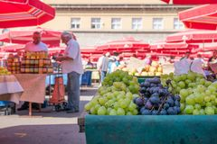 Local food market in downtown Zagreb. Daily scene on the food market in city center of Zagreb Croatia on a sunny morning with grapes in foreground stock photos