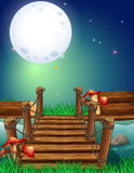 Scene with fullmoon at night Stock Photo