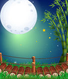 Scene with fullmoon over the bridge Royalty Free Stock Photo