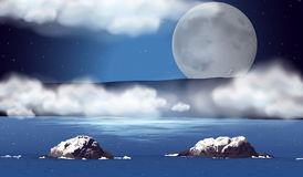 Scene with fullmoon over the ocean Royalty Free Stock Images