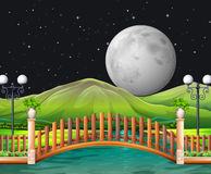 Scene with fullmoon and park Royalty Free Stock Photo