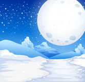 Scene with fullmoon on snowy night Royalty Free Stock Images