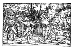 Scene of the German Peasant's war, woodcut from 1532. Stock Image