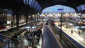 Germany Train Station 2 slow.mp4. Scene from Germany Europe of train station stock video footage