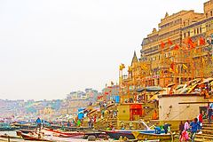 Scene of ghat. A scene of dasasava megh ghat in varanasi Stock Photos