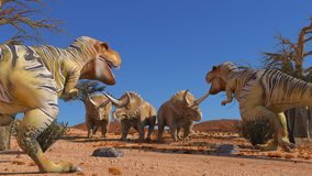 Dinosuar 3D Rendering. Scene of the giant dinosaur destroy the park. 3D Render Photo Royalty Free Stock Photography
