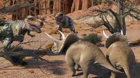 Dinosuar 3D Rendering. Scene of the giant dinosaur destroy the park. 3D Render Photo Stock Photos