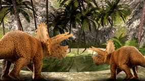 Dinosuar 3D Rendering. Scene of the giant dinosaur destroy the park. 3D Render Photo Royalty Free Stock Photo