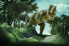 Dinosaur. Scene of the giant dinosaur destroy the park Royalty Free Stock Photos