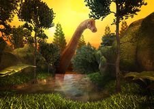 Dinosaur 3D render. Scene of the giant dinosaur in graphic on forest blackground Royalty Free Stock Photography