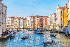 Scene at the Grand Canal in Venice, Italy Royalty Free Stock Images