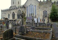 Scene of gravestones surrounding world famous St.Mary's Cathedral,Limerick,Ireland,2014 Royalty Free Stock Photos