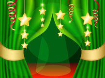A scene with a green curtain. And festive illuminations, background Stock Images