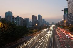 Scene of Guanghzou city at sunset Royalty Free Stock Image