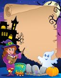 Scene with Halloween parchment  Stock Photos