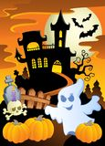 Scene with Halloween theme 5. Vector illustration Stock Image
