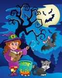 Scene with Halloween theme 9. Vector illustration royalty free illustration
